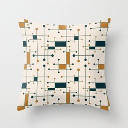 Intersecting Lines in Cream, Blue-Green and Orange Throw Pillow