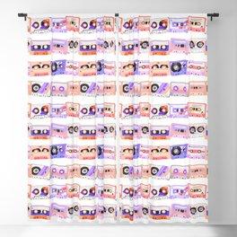 Cassette Tapes - Coral indigo Blackout Curtain