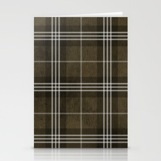 Grungy Brown Plaid Stationery Cards
