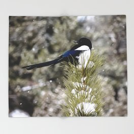 Black-billed Magpie Throw Blanket