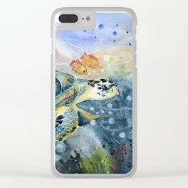 Colorful Seaturtle Art Clear iPhone Case