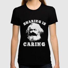 Varsity Style Socialism Karl Marx Sharing is Caring design T-shirt