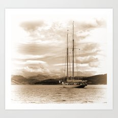 Schooner in Sepia Art Print