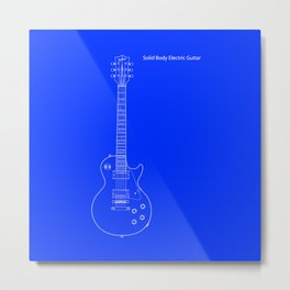 Solid Body Electric Guitar Blueprint Metal Print