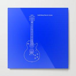 Solid Body Electric Guitar Blueprint Metal Print