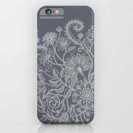 Jacobean Inspired Light on Dark Grey Floral Doodle iPhone Case