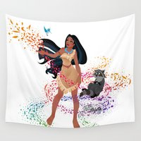 pocahontas Wall Tapestries featuring Pocahontas - Colors of the Wind by Teo Hoble