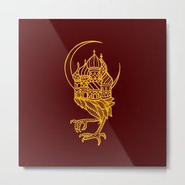 Baba Yaga Red Gold Metal Print