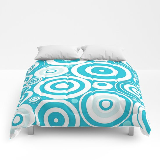 Soft Blue Circles Comforters