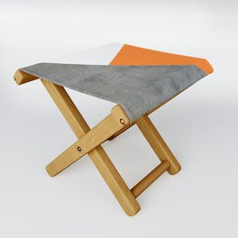Concrete Tangerine White Folding Stool