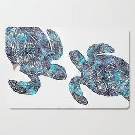 Sea Turtle Blue Watercolor Art Cutting Board
