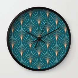 Copper Metallic Palm Leaf Art Deco Style Wall Clock