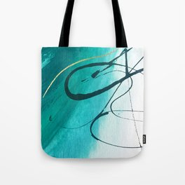 Moving On [2]: an abstract mixed media piece in blue, greens, black and white by Alyssa Hamilton Art Tote Bag