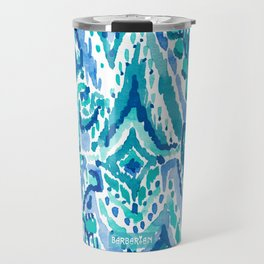 AQUA FRINGE TRIBAL Ikat Watercolor Travel Mug