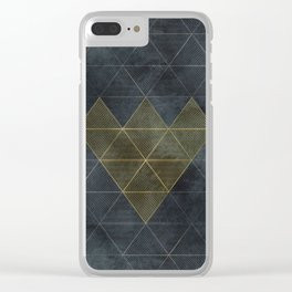 Charcoal Diamonds and Hexagons Clear iPhone Case