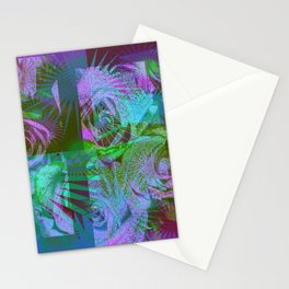 Green & Purple Roses Stationery Cards