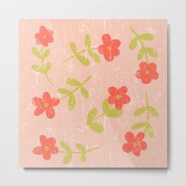 Daisy Rain | Wildflower Print in Tomato Red Metal Print