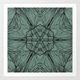 Mysterious trees - green Art Print