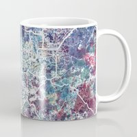 san diego Mugs featuring San Diego map by MapMapMaps.Watercolors