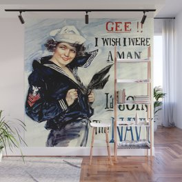 Vintage U.S. Navy Recruitment Poster Wall Mural