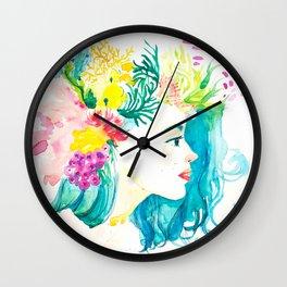 Aqua Watercolor Portrait Wall Clock