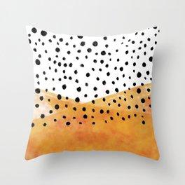 orange polka dots Throw Pillow