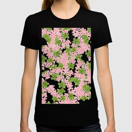 Modern hand painted pink watercolor flowers and green tropical leaf pattern T-shirt