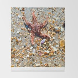 Washed up Beautiful Red Starfish Photo Art Throw Blanket
