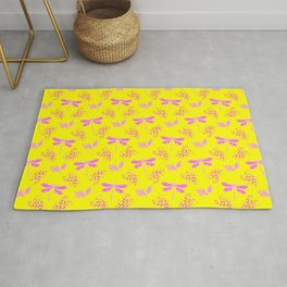 Pretty beautiful cute pink dragonflies, delicate little leaves elegant yellow nature bright pattern Rug