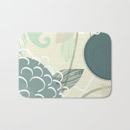 Abstract Floral Blue by Friztin Bath Mat