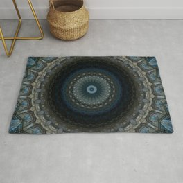 Detailed mandala in grey and blue tones Rug