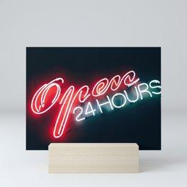 Open 24h Neon Sign Mini Art Print
