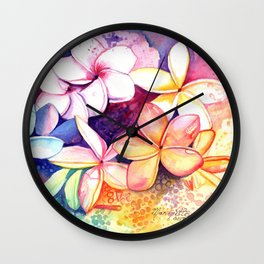 Plumeria Fun Wall Clock