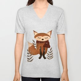 Fox with Scarf in Snow Unisex V-Neck