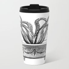 Tentacles in the Tub | Octopus | Black and White Metal Travel Mug