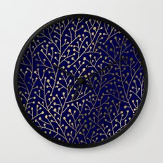 Gold Berry Branches on Navy Wall Clock