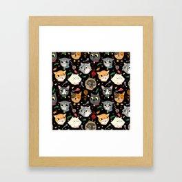Neighborhood Cats in Black Framed Art Print