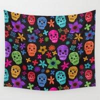sugar skulls Wall Tapestries featuring Sugar Skulls (Black Background) by Emmyrolland