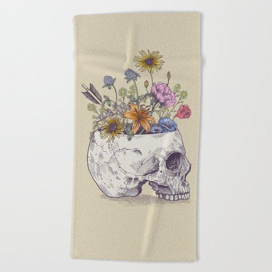 Half Skull Flowers Beach Towel