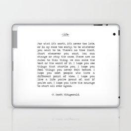 Life quote F. Scott Fitzgerald Laptop & iPad Skin