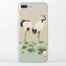 Water Lilies and Cranes Clear iPhone Case
