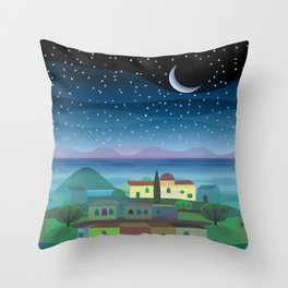 Island Moon Throw Pillow