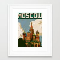 russia Framed Art Prints featuring Russia Red Square st bazils cathedral vintage travel poster by Nick's Emporium