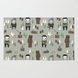 Forest lumberjack and bear nursery kids cute woodland camper gifts Rug