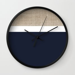 Faux Burlap, White, and Navy Blue Minimalist Color Block Pattern Wall Clock