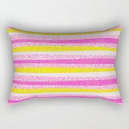 Pastel Violet Pink Yellow Faux Glitter Summer Stripes Pattern Rectangular Pillow