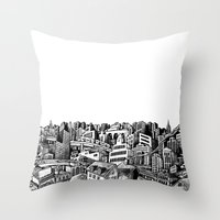 cityscape Throw Pillows featuring Cityscape by Nip Rogers