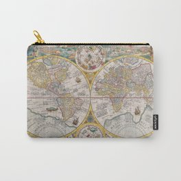 Antique Map of the World from 1594 Carry-All Pouch