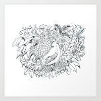 Sketched bird and flowers Art Print