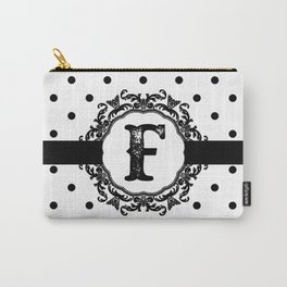 Black Monogram: Letter F Carry-All Pouch
